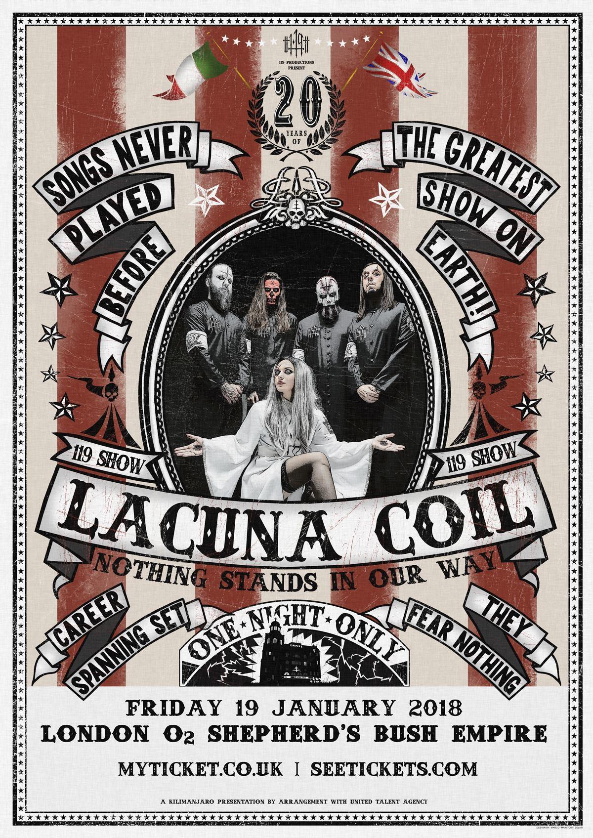 Lacuna Coil celebrará su 20 aniversario con show especial