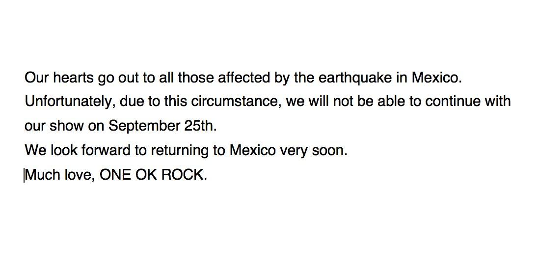 One Ok Rock Cancela