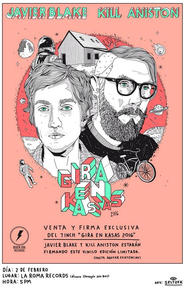 Venta del vinyl split Javier Blake/Kill Aniston, Gira en Kasas 2016