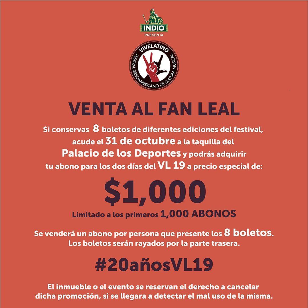 20 Años Vive Latino: Venta para el fan leal