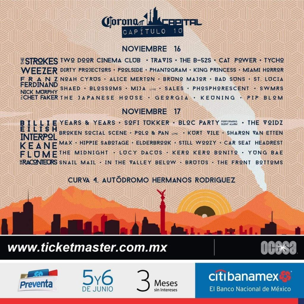 CORONA CAPITAL 2019 CARTEL DIA