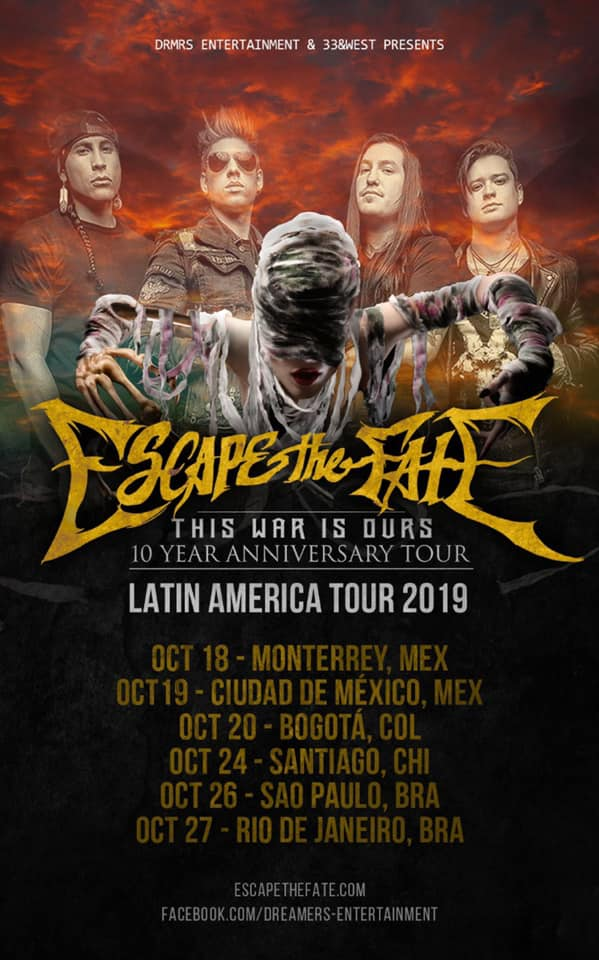 Escape The Fate: Celebra 10 años de This War Is Ours en México