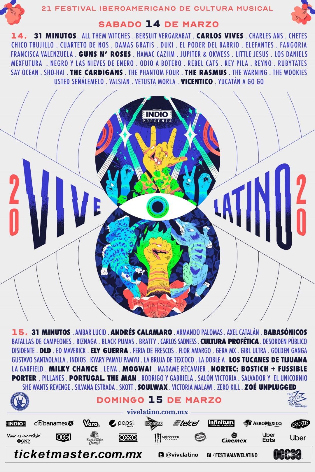 Anuncian bandas por día del Vive Latino 2020