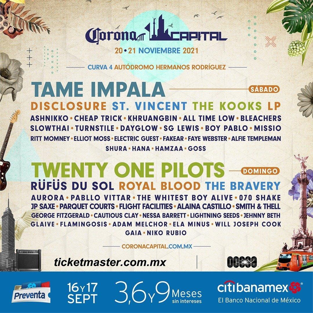 Twenty One Pilots, All Time Low... ¡Habrá Corona Capital 2021!